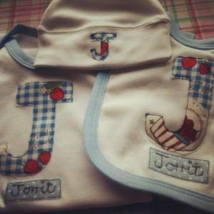 personalised British England baby onesie newborn gift set name initial strawberry custom