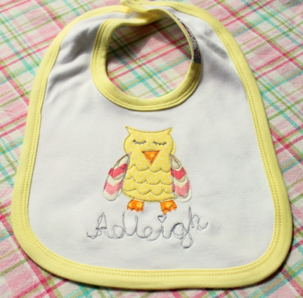 Owl applique personalised name baby bib Christening gift England