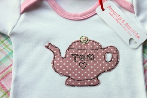 made in England tea baby onesie British