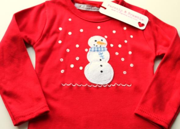 Snowman applique British baby Christmas