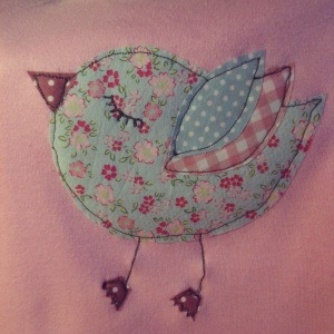 custom made bird applique by Parsnip & Bramble, UK