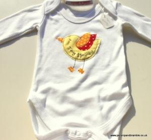 Parsnip and Bramble bird applique onesie made in England