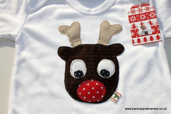 Parsnip and Bramble reindeer applique baby sleepsuit
