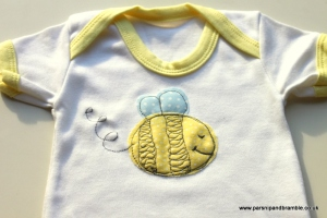 Bee Applique baby onesie by Parsnip and Bramble